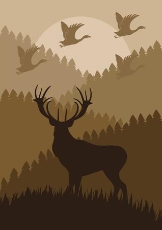 Animated rain deer in wild nature landscape illustration Vector