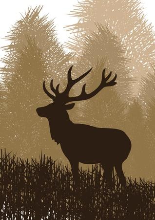 Geanimeerde regen herten in wilde natuur landschap illustratie Vector Illustratie