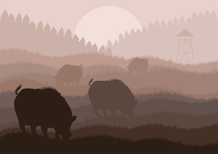 Animated wild boar hunting season foliage illustration Stock Vector - 10568998