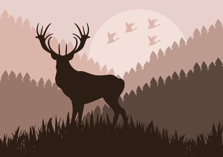 Animated rain deer in wild nature landscape illustration Stock Vector - 10568949
