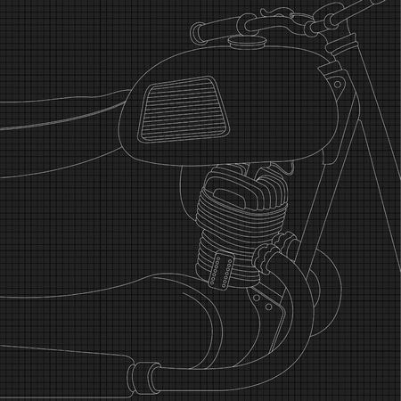 motorbike jumping: Chopper motorcycle vector part Illustration