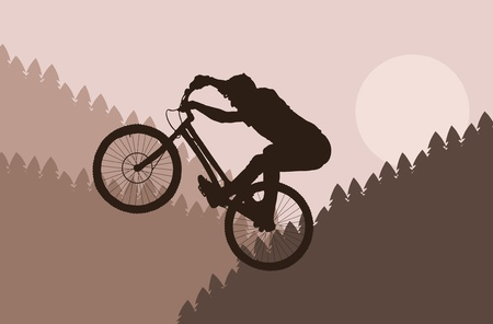 Mountain bike rider in wild forest landscape illustration Vector