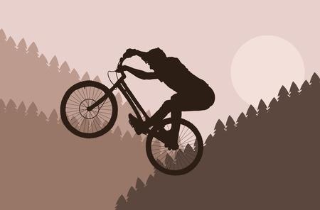 adrenalin: Mountain bike rider in wild forest landscape illustration