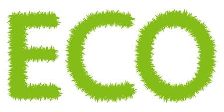 Eco symbol made of grass vector background Vector