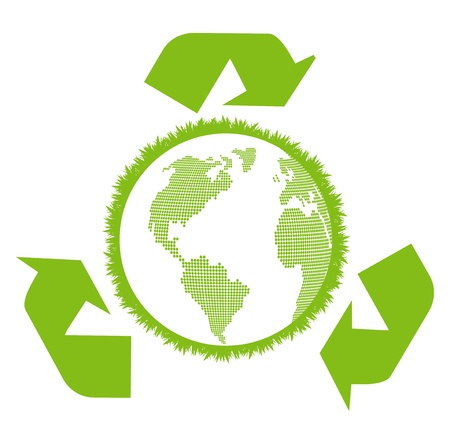 recycling symbol: Earth inside ecology recycling sign vector background concept Illustration
