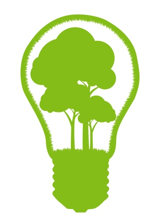 Tree in a light bulb isolated on white vector background concept