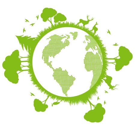 Green and clean ecology earth globe concept vector background with north nature Stock Vector - 10569038