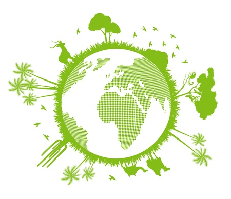 Green and clean ecology earth globe concept vector background with north nature Stock Vector - 10569011