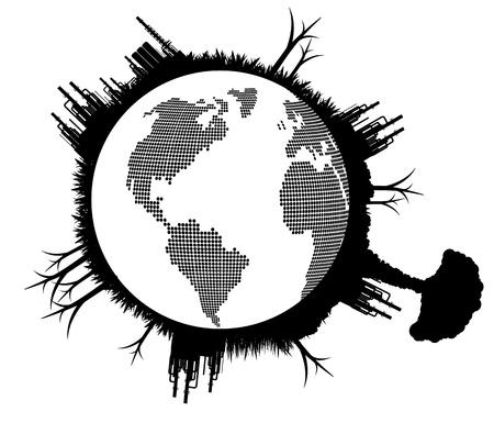safe world: Broken pollution earth globe vector background concept Illustration