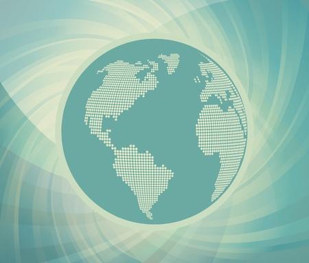 Blue globe vintage vector background Vector