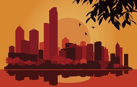 Skyscraper city landscape illustration Stock Vector - 10568978