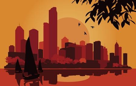 Skyscraper city landscape illustration Stock Vector - 10565759