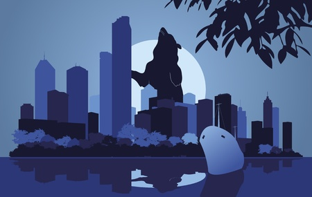 lake district: Skyscraper city landscape illustration
