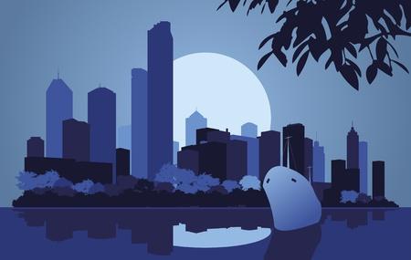 new york street: Illustration de paysage de ville gratte-ciel Illustration