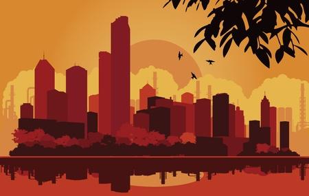 Skyscraper city landscape illustration Stock Vector - 10565758
