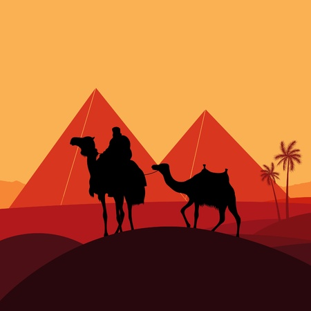 desert storm: Pyramids and camel caravan in wild africa landscape illustration