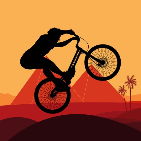 egypt pyramid: Mountain bike trial rider in Egypt pyramid ruin landscape illustration Illustration