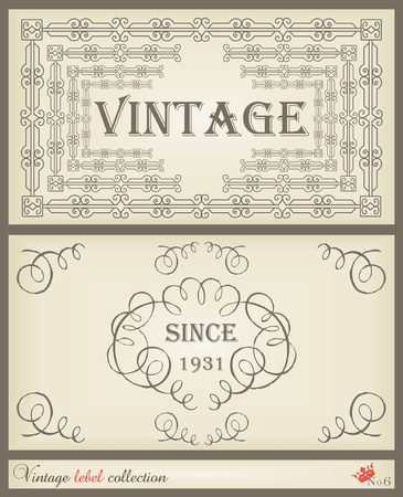 Vintage brown label frame vector background set Vector