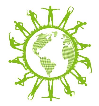green planet: Fond vert vecteur de la plan�te avec des gens l'�cologie et le sport