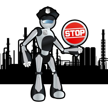 Animated construction site police officer robot illustration Vector