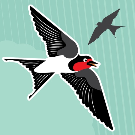 repose: Flying swallows vector background Illustration