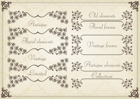 Vintage wedding invitation frame  elements illustration Stock Vector - 10565721