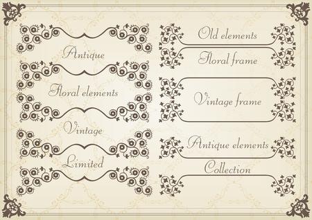 message box: Vintage wedding invitation frame  elements illustration