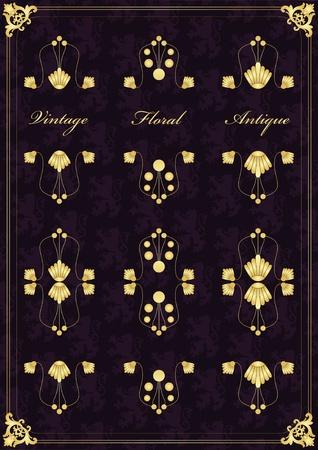 hand tag: Vintage wedding invitation frame  elements illustration