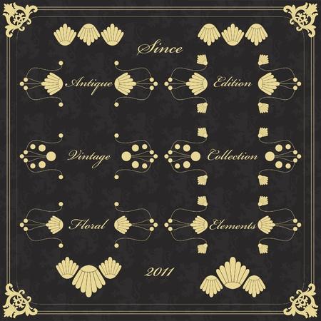 Vintage wedding invitation frame  elements illustration Vector