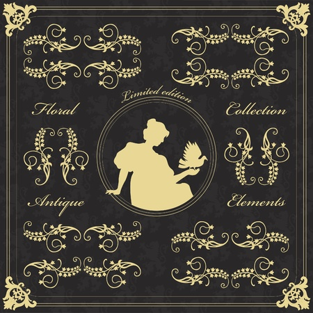 Vintage wedding invitation frame  elements illustration Vector