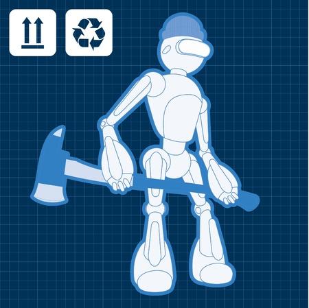 Animated construction site firemen robot blueprint Stock Vector - 10565450
