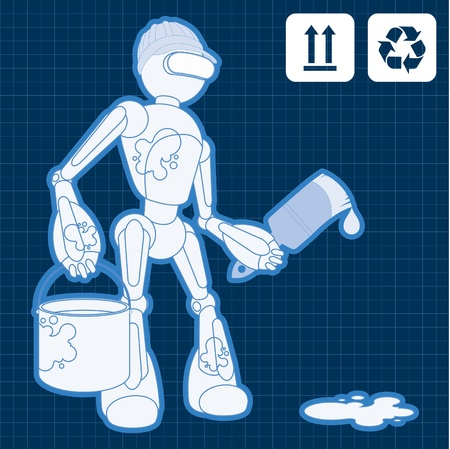 bras robot: Anim� du site de construction de robot peintre illustration Illustration