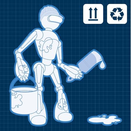 maschinenteile: Animierte Baustelle Maler Roboter Illustration