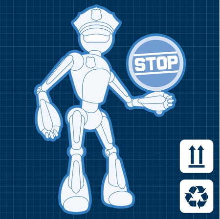 Animated construction site police officer robot illustration Stock Vector - 10565448