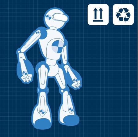 Animated construction site test robot blueprint Stock Vector - 10565447