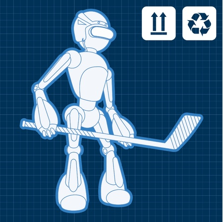 Animated robot hockey player blueprint plan illustration Vector