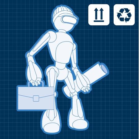Animated construction site architect assistant robot blueprint plan Stock Vector - 10565445
