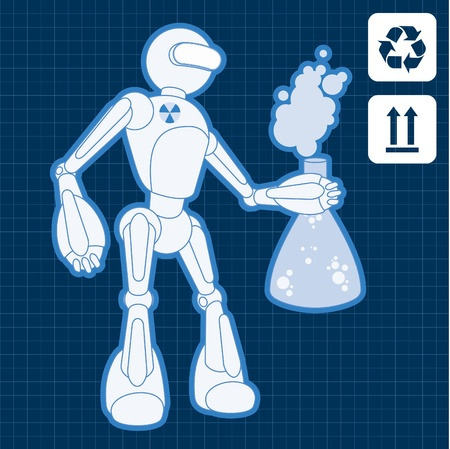 Animated nuclear physicist science robot blueprint plan illustration Vector