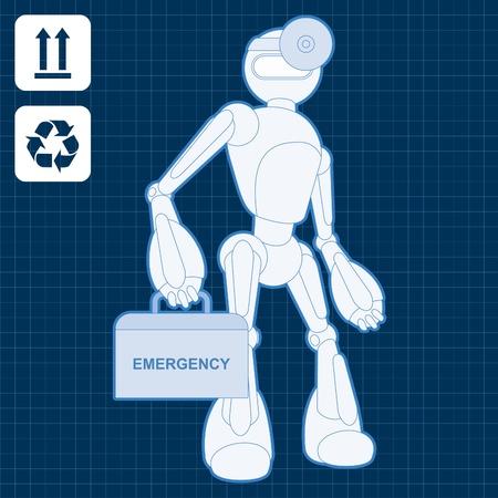 space robot: Animated medical robot doctor blueprint plan illustration Illustration