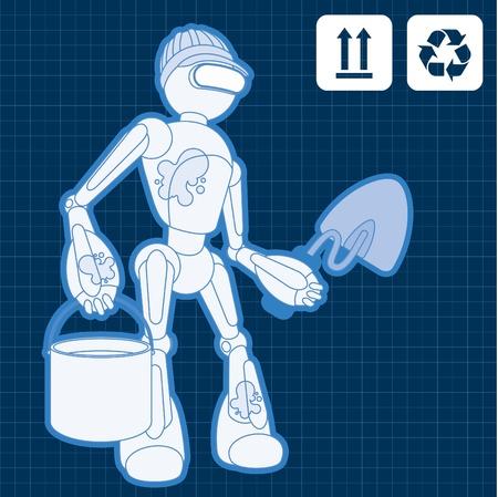 cartoon atom: Animated construction site worker robot blueprint plan