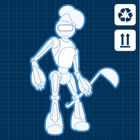 Animated industrial professional cook robot blueprint plan illustration Vector