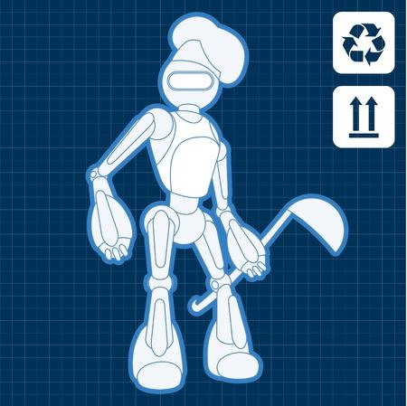 bionico: Animato industriale professionale cuoco robot modello illustrazione piano