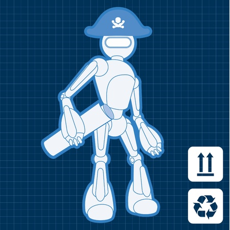 Animated pirate treasure hunter robot blueprint plan Vector
