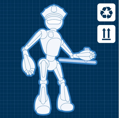 Animated police officer robot blueprint plan illustration Vector