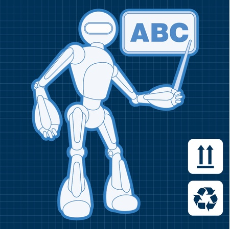 Animated school teacher assistant robot blueprint plan Stock Vector - 10553718