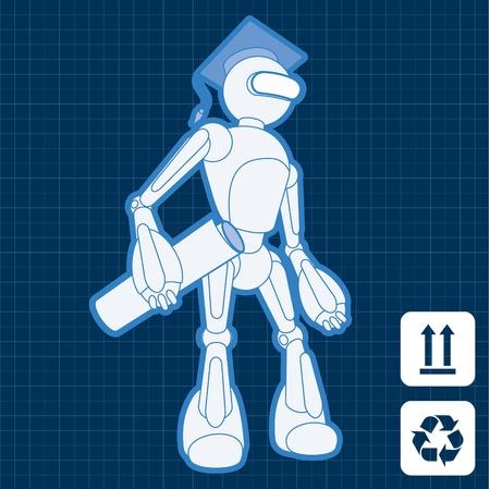 Animated academy graduate student robot blueprint plan Stock Vector - 10553717