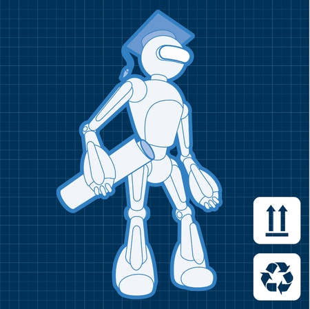 bionico: Animato accademia studente laureato robot piano piano