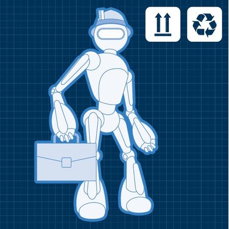 Animated journalist blogger robot blueprint plan Vector