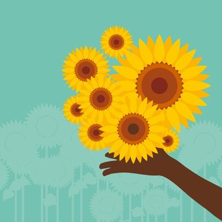 Colorful sunflower illustration Vector