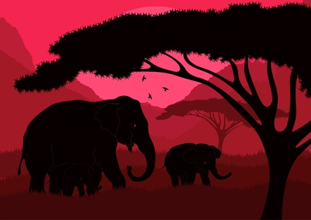india culture: Animated cute elephant family in wild nature landscape illustration